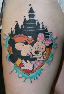 Mickey Kissing Minnie tattoo